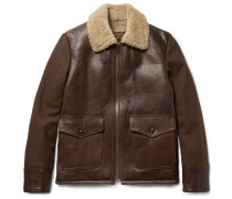 Type N-5a Shearling-trimmed Leather And Wool-blend Jacket