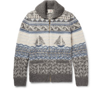 Sailboat-patterned Shawl-collar Merino Wool And Alpaca-blend Zip-up Cardigan