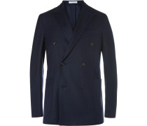 Navy K-jacket Wool-hopsack Double-breasted Blazer