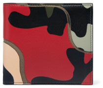 Camoflauge-print Leather And Canvas Billfold Wallet