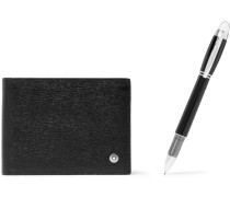 Leather Billfold Wallet And Starwalker Resin And Platinum-plated Pen Set
