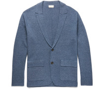 Slim-fit Knitted Mélange Cotton Cardigan