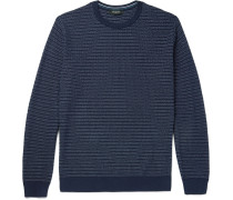 Striped Textured Cotton And Silk-blend Sweater