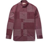 London Slim-fit Patchwork-print Cotton-poplin Shirt