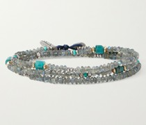 Polaris Sterling Silver and Gold Multi-Stone Beaded Wrap Bracelet