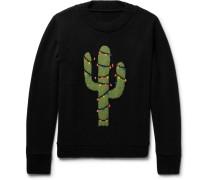 Christmas Light Cactus Intarsia Cashmere Sweater
