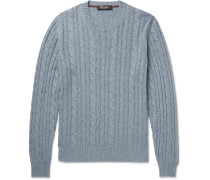 Cable-knit Mélange Baby Cashmere Sweater