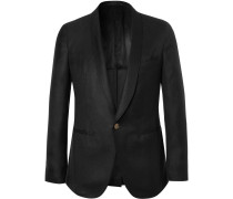 Black Slim-fit Cashmere And Silk-blend Tuxedo Jacket
