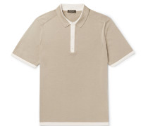 Slim-fit Contrast-trimmed Knitted Silk And Cotton-blend Polo Shirt