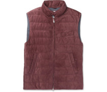 Slim-fit Quilted Suede Down Gilet