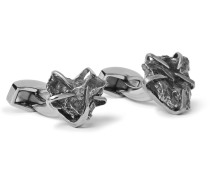 Rhodium-plated Campo Del Cielo Meteorite Cufflinks