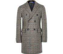 Slim-fit Double-breasted Prince Of Wales Checked Wool Coat