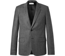 Grey Slim-fit Chalkstriped Wool Blazer