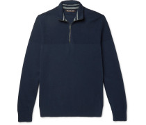 Honeycomb-knit Cotton-blend Half-zip Sweater