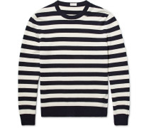 Distressed Striped Wool And Cashmere-blend Sweater