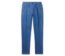 Slim-Fit Tapered Cotton and Linen-Blend Trousers