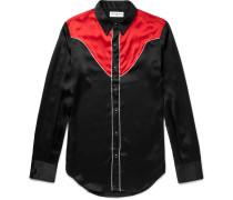 Slim-fit Contrast-panelled Silk Western Shirt