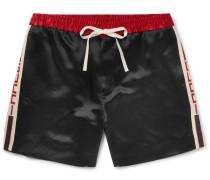 Wide-leg Webbing-trimmed Satin-twill Shorts