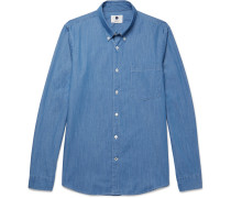 Falk Slim-fit Button-down Collar Stretch-denim Shirt