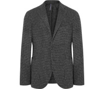 Charcoal Slim-fit Unstructured Puppytooth Wool-blend Blazer