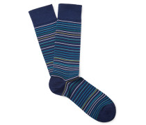 Striped Pima Cotton-blend Lisle Socks