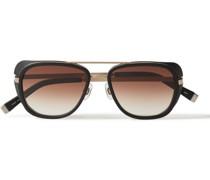 Aviator-Style Acetate and Gold-Tone Titanium Sunglasses