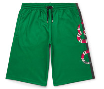 Printed Cotton-blend Tech-jersey Shorts