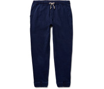 Wallace & Barnes Indigo-dyed Loopback Cotton-jersey Sweatpants