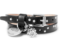 Leather And Silver-tone Skull Wrap Bracelet