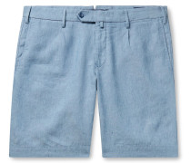 Linen-Chambray Bermuda Shorts