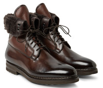 Shearling-lined Panelled Leather Boots