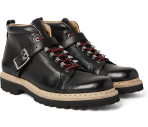 Richmond Buckled Full-grain Leather Boots
