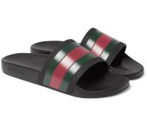 Striped Leather Slides