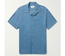Miyagi Camp-Collar Striped TENCEL Lyocell Shirt