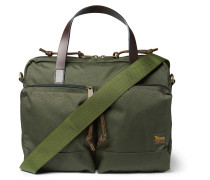 Dryden Leather-Trimmed Camouflage-Print Nylon Briefcase