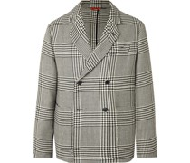Unstructured Double-Breasted Prince of Wales Checked Wool-Blend Blazer