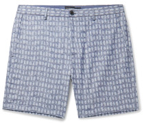 Baxter Slim-Fit Printed Stretch Linen and Cotton-Blend Shorts