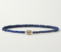 14-Karat Gold Lapis Lazuli Beaded Bracelet