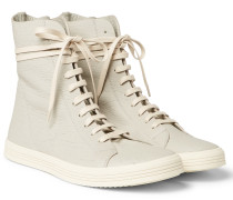 Mastodon Cracked-leather High-top Sneakers