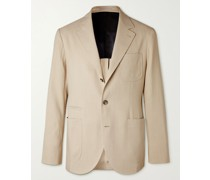 Unstructured Herringbone Paper and Silk-Blend Suit Jacket