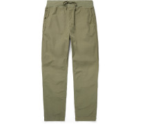 Cozy Slim-Fit Garment-Dyed Cotton-Poplin Drawstring Trousers