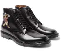 + Disney Appliquéd Polished-leather Boots