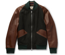 Wool-blend And Leather Bomber Jacket