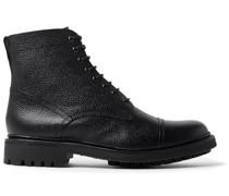Joseph Cap-Toe Pebble-Grain Leather Boots