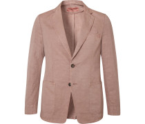 Light-Pink Unstructured Cotton and Linen-Blend Blazer