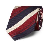 7cm Striped Logo-Jacquard Silk Tie