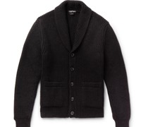 Shawl-Collar Cable-Knit Cashmere and Mohair-Blend Cardigan