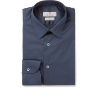Navy Stretch Cotton-blend Shirt