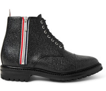 Stripe-trimmed Pebble-grain Leather Boots