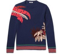 Banana Leaf Intarsia Cashmere Sweater